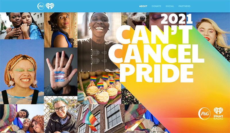 「Can't Cancel Pride: Helping LGBTQ+ People in Need」HPのスクリーンショット